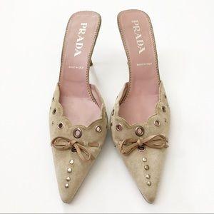 Prada pointed toe heels 38.5 womens 8.5